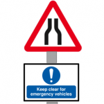Road narrows - keep clear for emergency vehicles